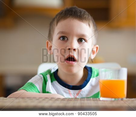 Little Boy With Glass Of Orange Juice