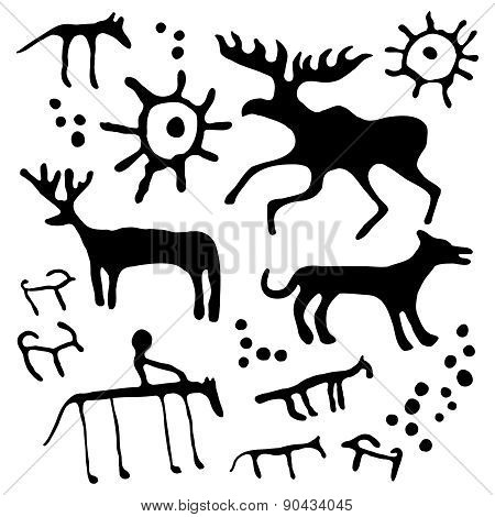 Cave art vector set