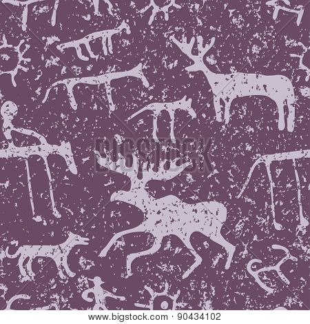 Cave art seamless pattern