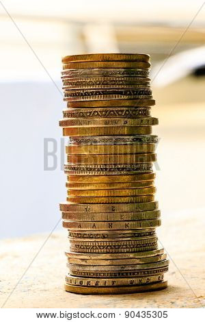 coins stacked in a blurred background