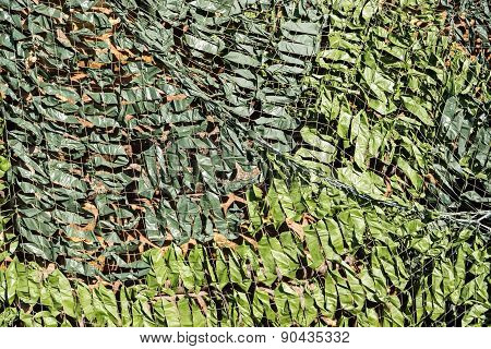 Dense Camouflage Grid Of Green Color