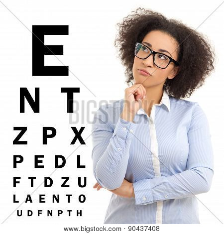 Beautiful African American Business Woman In Glasses And Eye Test Chart Isolated On White