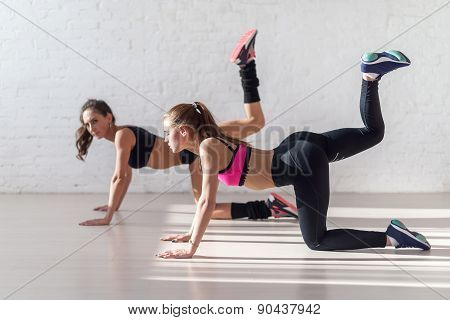 Healthy young sportswoman doing the exercises on all fours arching back straightening leg up concept