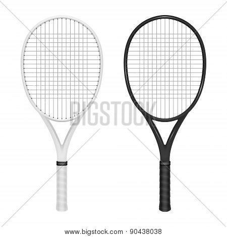 Two Tennis Rackets - White And Black