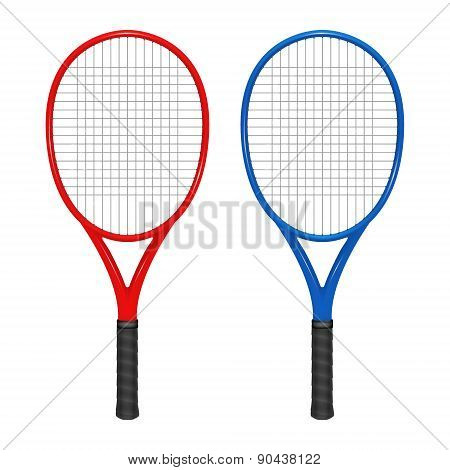 Two Tennis Rackets - Red And Blue