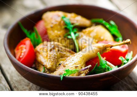 The Fried Quails With Salad
