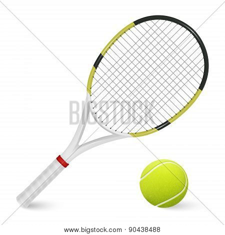 Tennis Racket And Ball. Isolated On White.