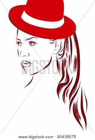 Vector girl in bikini and hat on a white background.