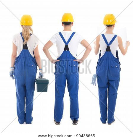 Back View Of Man And Two Women In Builders Uniform Isolated On White