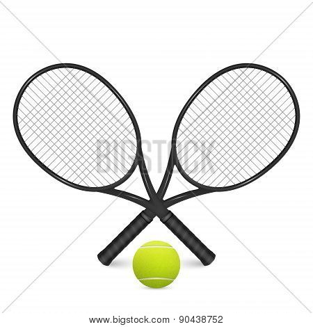 Tennis Ball And Two Crossed Rackets, Isolated On White.