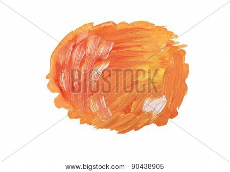 Abstract watercolor aquarelle hand drawn colorful orange art paint splatter stain on white backgroun