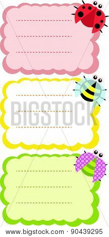 Labels with bee, dotted bug and ladybird