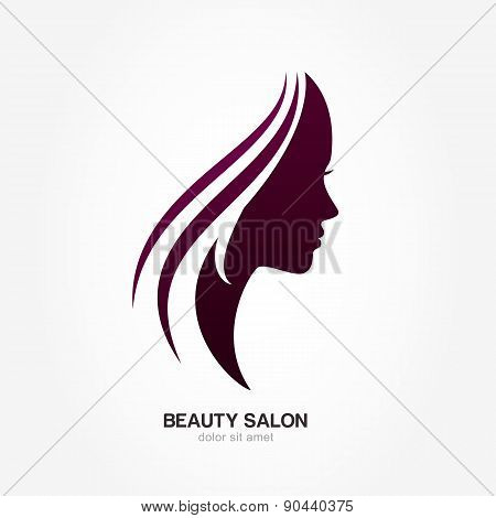 Beautiful Woman's Profile Face With Streaming Hair. Vector Logo Design Template. Abstract Design Con