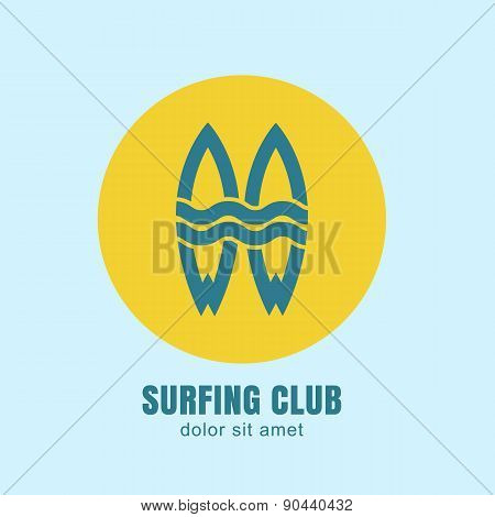 Two Surfing Boards Silhouettes In Yellow Circle Sun On Blue Background. Vector Logo Design Template.
