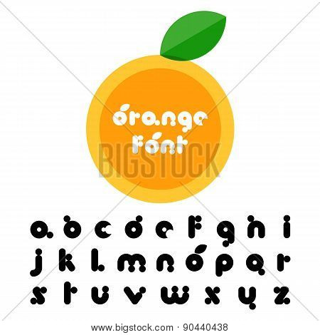 Orange Fruit Stylized Font. Latin Decorative Alphabet. Vector Logo Design Template