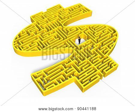 Yellow 3D Money Shape Maze With Businessman In Center