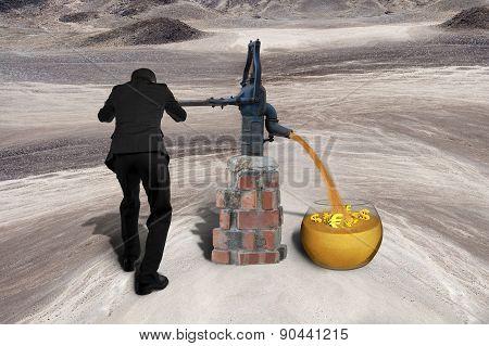 Man Drawing Golden Sand Currency Symbols Retro Pump Desert