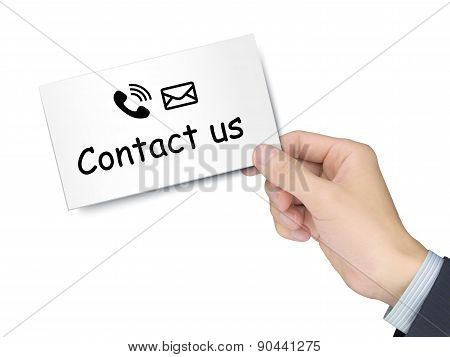 Contact Us Card In Hand