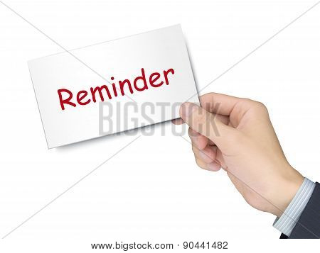 Reminder Card In Hand