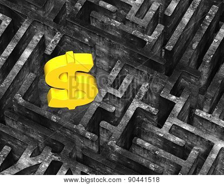 3D Gold Dollar Sign In Maze Old Mottled Concrete Texture