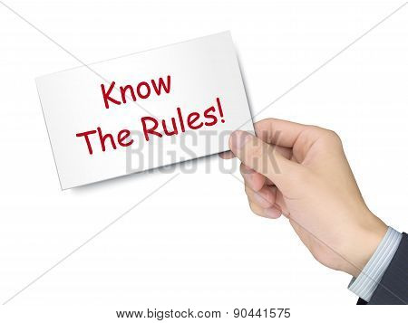 Know The Rules Card In Hand
