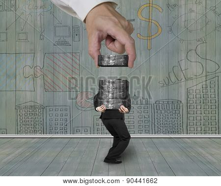 Man Carrying Concrete Blocks With Hand Stacking Business Doodles Wall