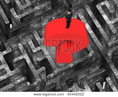 Man Standing Huge Question Mark In Center Maze Old Concrete