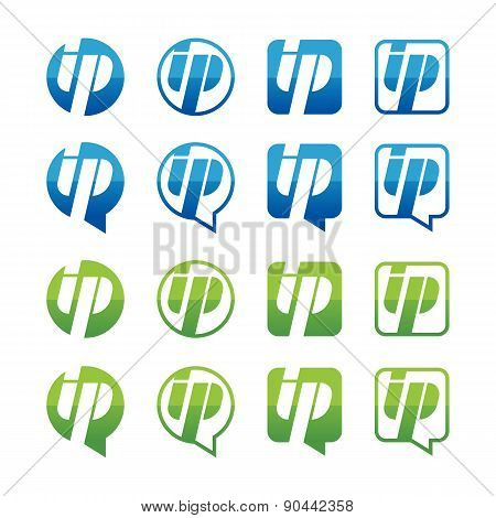Set Of Green And Blue Ip Address Icons Isolated On White Background. Vector Logo Design Template. Ro
