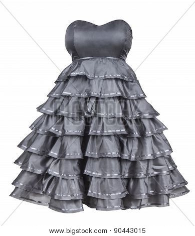 Gray Strapless Dress With A Fluffy Skirt On An Isolated White Background
