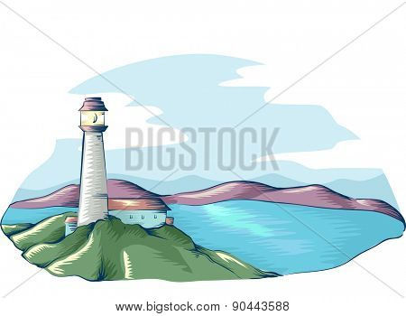 Illustration of a Lighthouse Overlooking the Sea