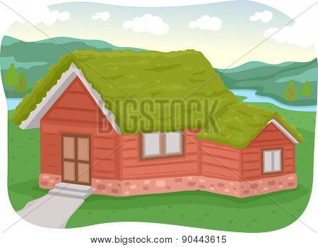 Illustration of a House with a Green Roof Made of Sod
