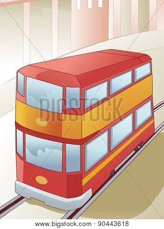 Illustration of a Double Decker Tram in the Middle of the Railway