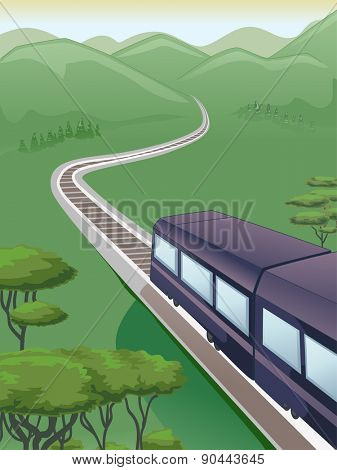 Illustration of a Train Traveling Through Mountains