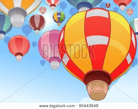 Illustration of Colorful Hot Air Balloons in a Festival