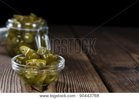 Jalapenos On Wooden Background