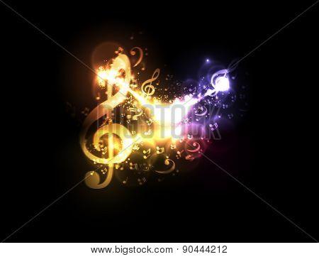 modern light conceptual music notes design, easy editable