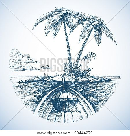 Tropical island in the ocean with palm trees, view from a boat