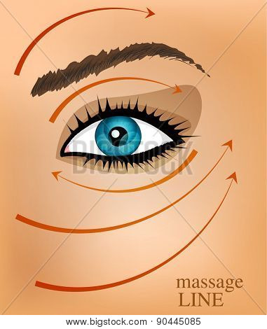 vector background with part of the face and massage lines