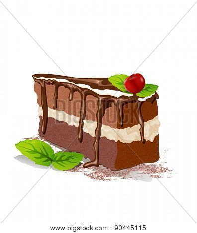 Vector piece of cake with cream and cherry on a white background