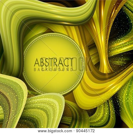 vector abstract background with green waves and place for your text