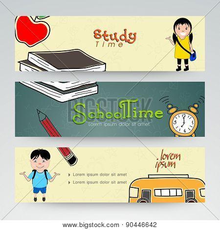 Set of three website header or banner of school time.