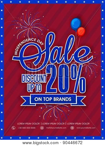 Beautiful poster, banner or flyer for top brands Sale with 20% discount for American Independence Day celebration.