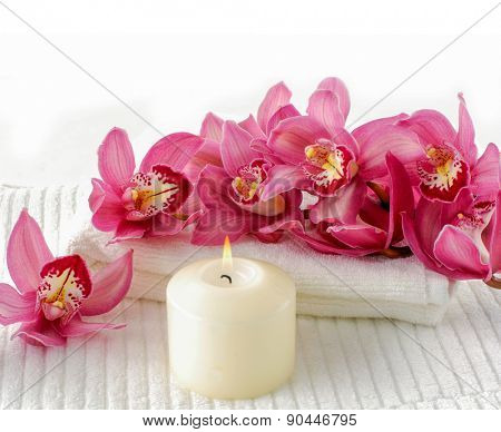 Orchid flower with towel aromatherapy