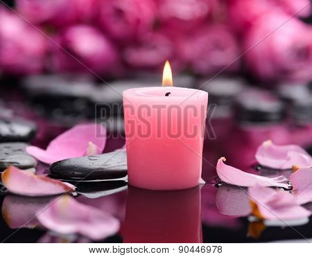 Still life with Red rose ,petals,candle and wet stones