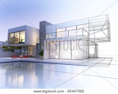 3D rendering of a luxurious villa with contrasting realistic rendering and wireframe