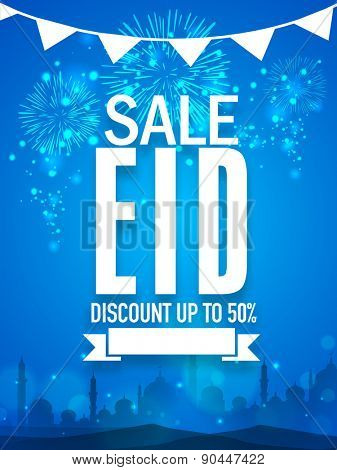 Shiny fireworks and mosque silhouette decorated sale poster, banner or flyer with discount offer for Muslim community festival, Eid celebration.