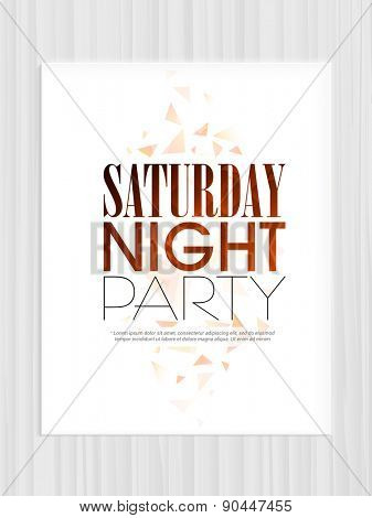Beautiful invitation card design for Saturday Night Party celebration, can be used as template, or flyer design.