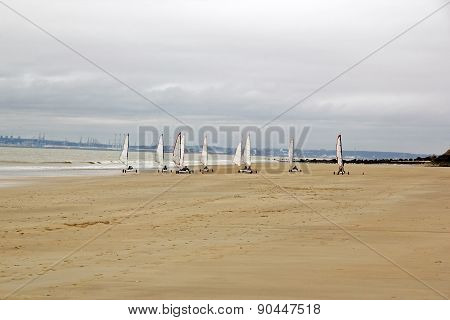 Landcraft in winter, beach in Trouville Normandy (France)