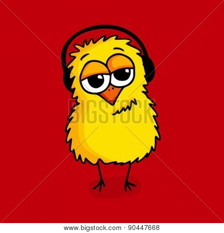 Cute cartoon of a chick listening music in headphones on red background.