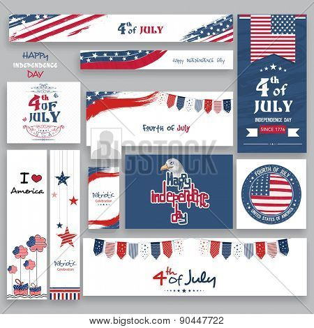 Social media and marketing headers, ads, post or banners in national flag color for 4th of July, American Independence Day celebration.